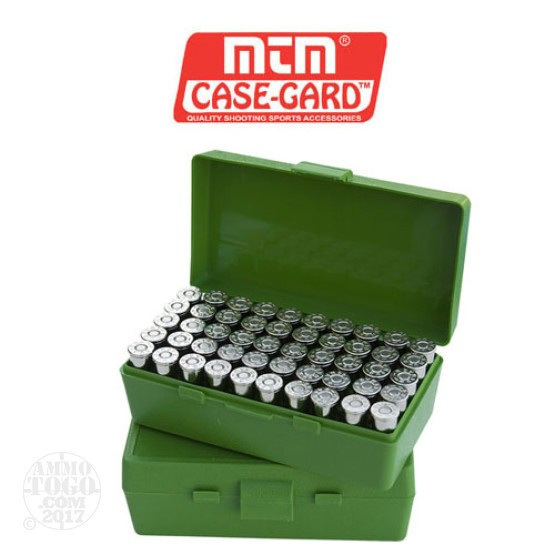 1 - MTM Case-Gard P50 Series 50rd. Pistol Ammo Box for .44 Mag - .45LC Green Color