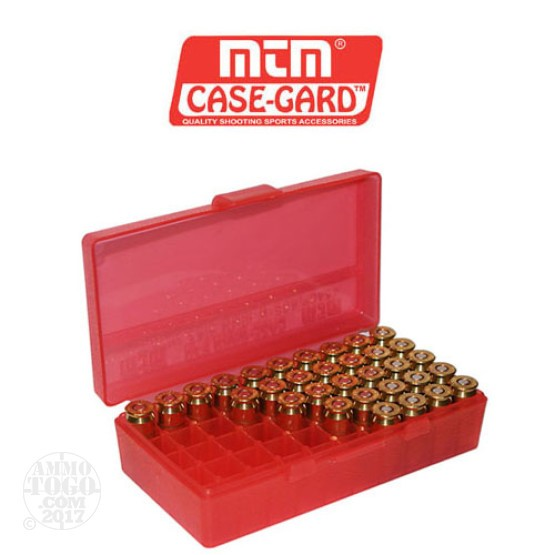 1 - MTM Case-Gard P50 Series 50rd. Pistol Ammo Box for .44 Mag - .45LC Red Color