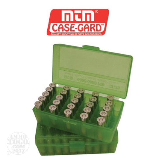 1 - MTM Case-Gard P50 Series 50rd. Pistol Ammo Box for .45 - .41 Green Color