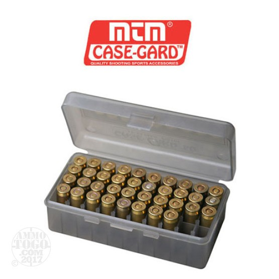 1 - MTM Case-Gard Original Series 50rd. Pistol Ammo Box for .45 - .44 Smoke Color