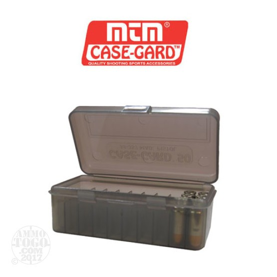 1 - MTM Case-Gard Original Series 50rd. Pistol Ammo Box for .38 - .357 Smoke Color