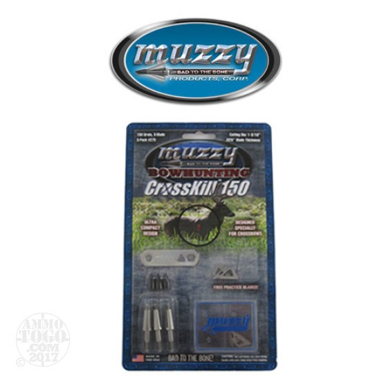"1 - 3 Pack Muzzy CrossKill 150gr. 1 3/16"" Cutting Dia. Crossbow Fixed Blade Broadheads W/ Practice Blades"