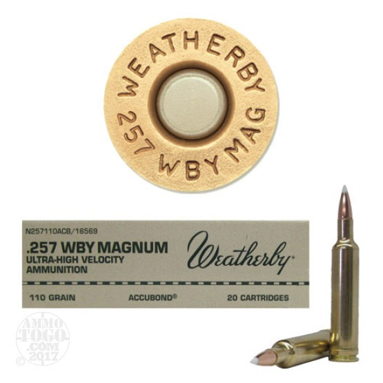 20rds - 257 Weatherby Mag. 110gr. Nosler AccuBond Ammo