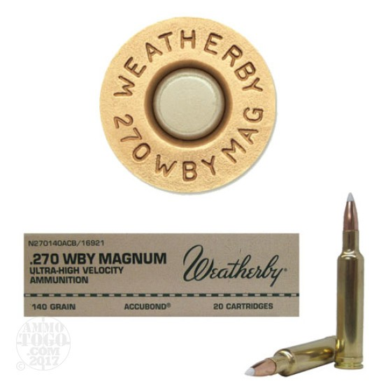 20rds - 270 Weatherby Mag. 140gr. Nosler AccuBond Ammo