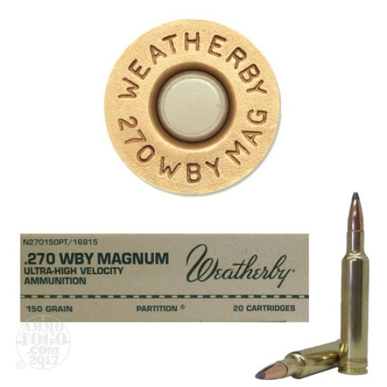 20rds - 270 Weatherby Mag. 130gr. Nosler Partition Ammo
