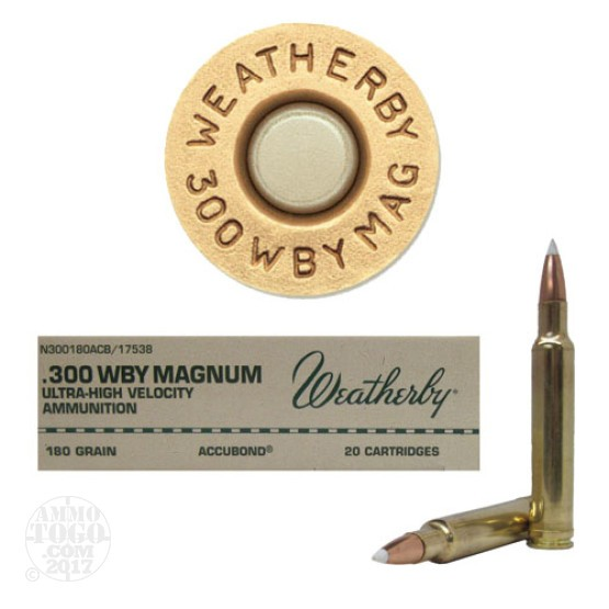 20rds - 300 Weatherby Mag. 180gr. Nosler AccuBond Ammo