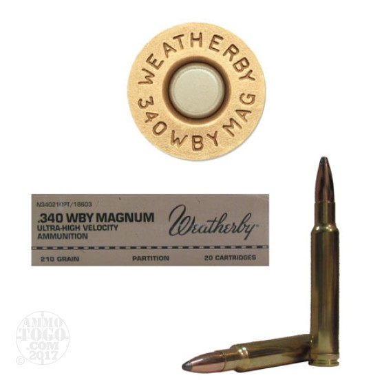 20rds - 340 Weatherby Magnum 210gr. Partition Ammo