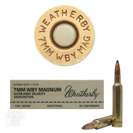 20rds - 7mm Weatherby Mag. 140gr. Nosler Partition Ammo