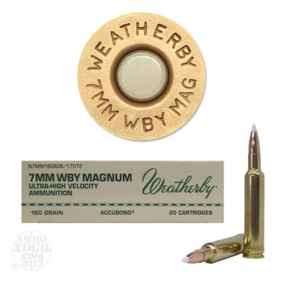20rds - 7mm Weatherby Mag. 160gr. Nosler AccuBond Ammo