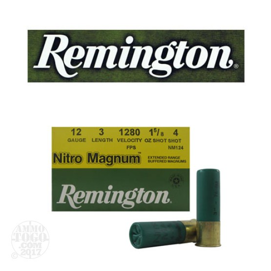 "250rds - 12 Gauge Remington Nitro Magnum 3"" 1 5/8oz. #4 Shot Ammo"