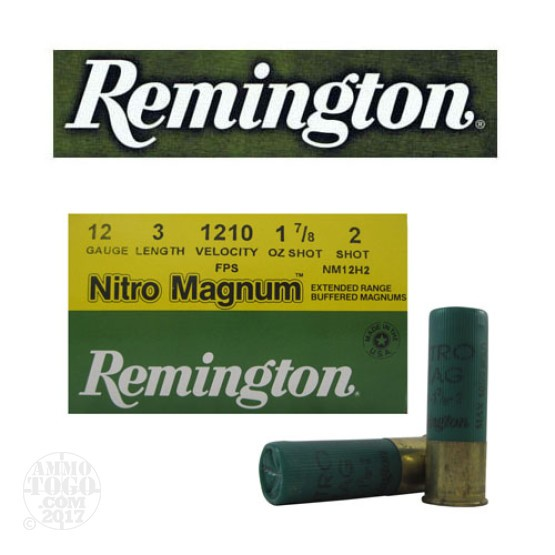 "250rds - 12 Gauge Remington Nitro Magnum 3"" 1 7/8oz. #2 Shot Ammo"