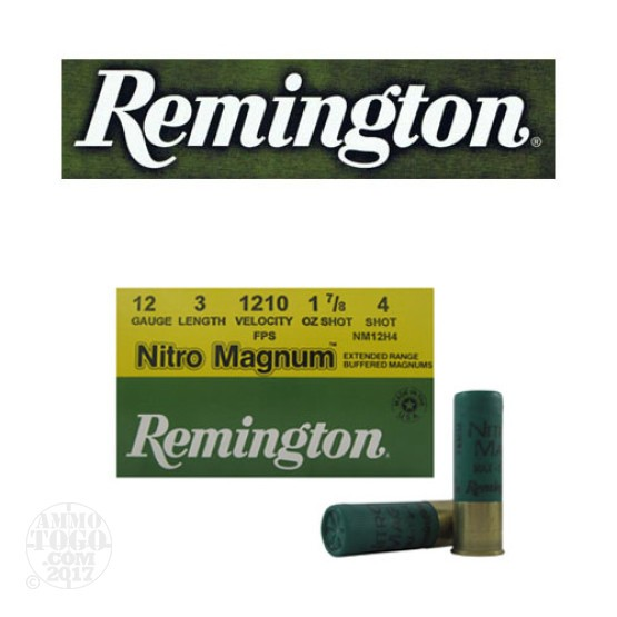 "250rds - 12 Gauge Remington Nitro Magnum 3"" 1 7/8oz. #4 Shot Ammo"