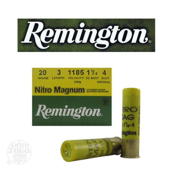 "250rds - 20 Gauge Remington Nitro-Magnum 3"" 1 1/4oz. #4 Shot Ammo"