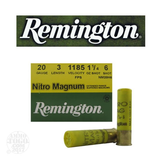 "25rds - 20 Gauge Remington Nitro Magnum 3"" 1 1/4oz. #6 Shot Ammo"