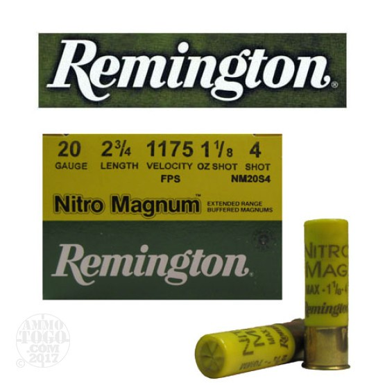 "250rds - 20 Gauge Remington Nitro Magnum 2 3/4"" 1 1/8oz. #4 Shot Ammo"