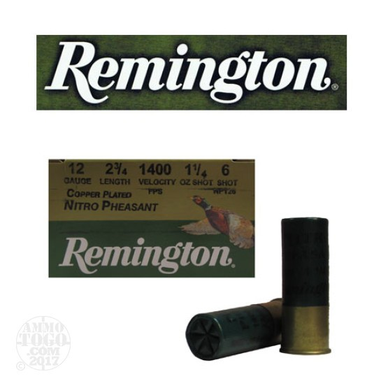 "25rds - 12 Gauge Remington Nitro Pheasant Load 2 3/4"" 1 1/4oz. #6 Shot"