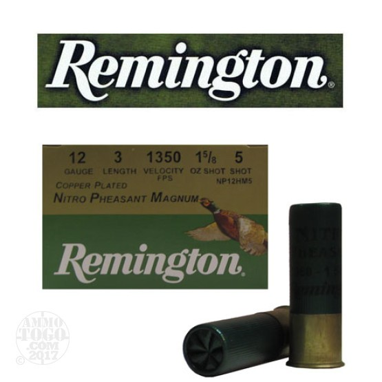 "25rds - 12 Gauge Remington Nitro Pheasant Magnum 3"" 1 5/8oz. #5 Shot"