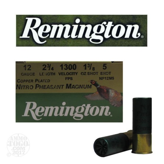 "25rds - 12 Gauge Remington Nitro Pheasant Magnum Load 2 3/4"" 1 3/8oz. #5 Shot"