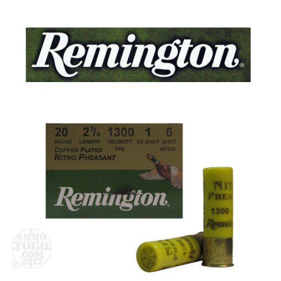 "25rds - 20 Gauge Remington Nitro Pheasant Load 2 3/4""  1oz. #6 Shot"