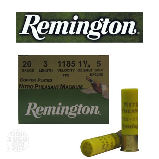 "25rds - 20 Gauge Remington Nitro Pheasant Magnum Load 3""  1 1/4 oz. #5 Shot"