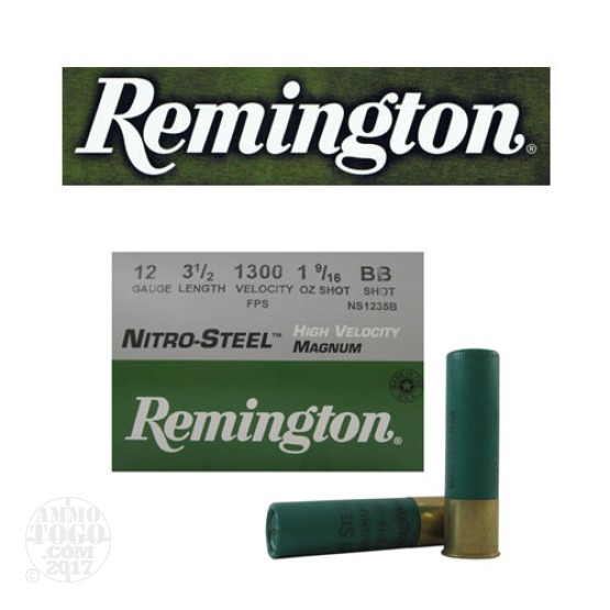 "250rds - 12 Gauge Remington Nitro-Steel 3 1/2"" 1 9/16oz. #BB Shot Ammo"
