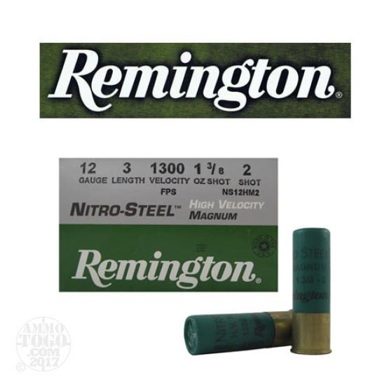 "250rds - 12 Gauge Remington Nitro-Steel 3"" 1 3/8oz. #2 Shot Ammo"