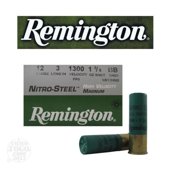 "25rds - 12 Gauge Remington Nitro-Steel 3"" 1 3/8oz. #BB Shot Ammo"