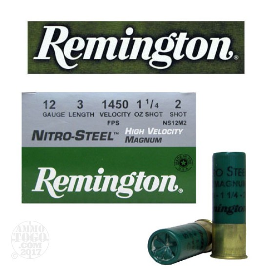 "25rds - 12 Ga. Remington Nitro-Steel 3"" 1 1/4oz #2 Hi-Velocity Ammo"