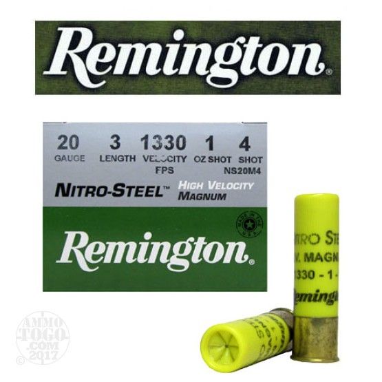 "25rds - 20 Gauge Remington Nitro-Steel 3"" 1oz #4 Hi-Velocity Ammo"