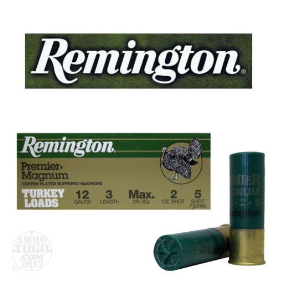 "10rds - 12 Gauge Remington Premier Magnum Turkey 3"" 2oz. #5 Shot Ammo"