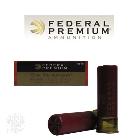 "250rds - 12 Ga. Federal Premium 3"" 10 Pellet Copper Plated 000"