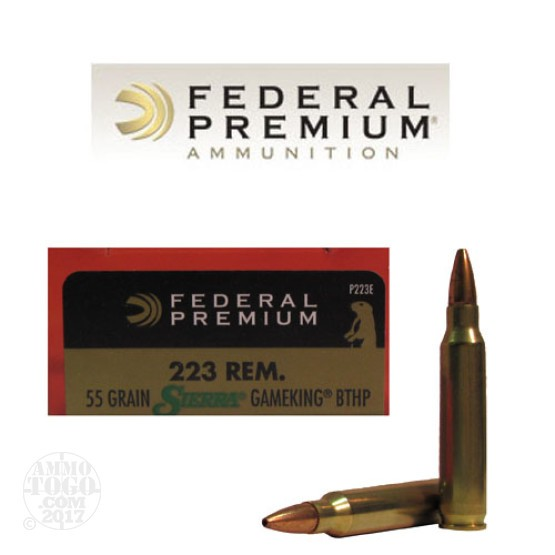 200rds - .223 Federal Sierra Gameking 55gr. Boattail Hollow Point