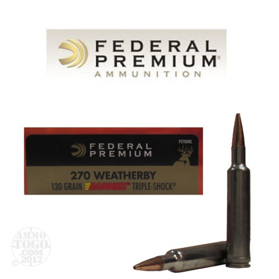 20rds - 270 WBY Federal 130gr. Barnes Triple Shock Ammo