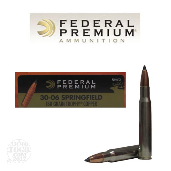 20rds - 30-06 Federal Vital-Shok 180gr. Trophy Copper Ammo