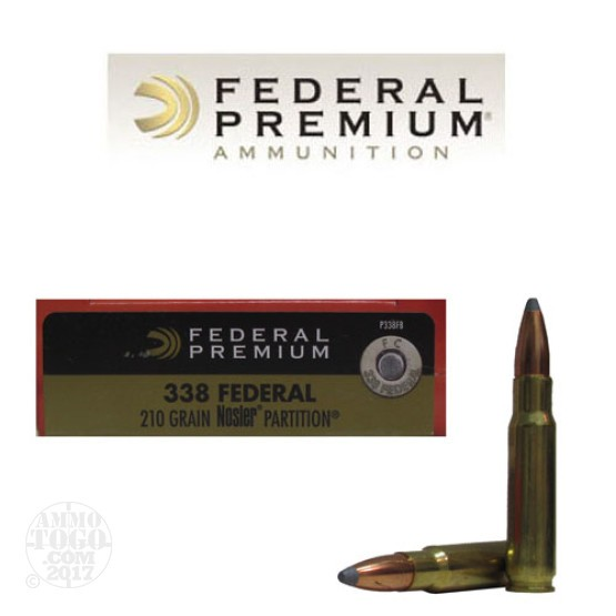 20rds - 338 Federal Premium 210gr. Nosler Partition SP Ammo