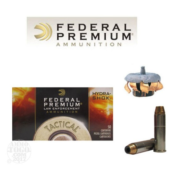 50rds - 357 Mag Federal LE Tactical Hydra-Shok 158gr. HP Ammo