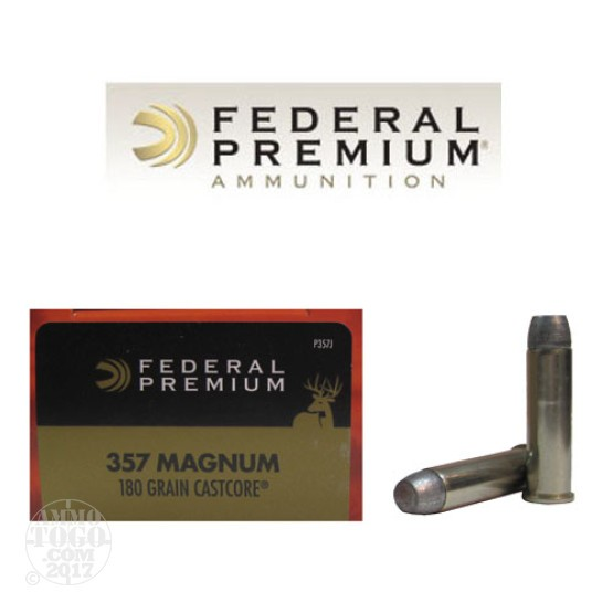 20rds - 357 Mag Federal Vital-Shok 180gr. CastCore Flat Point Hunting Ammo