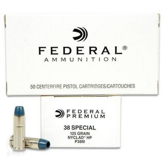50rds -  38 Special Federal 125gr. Nyclad Hollow Point Ammo