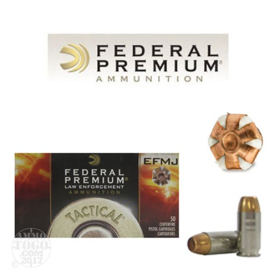 50rds - 45 ACP Federal LE Tactical EFMJ 200gr. +P Ammo