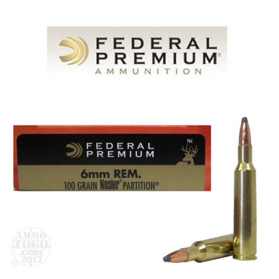 20rds - 6mm Rem. Federal Vital-Shok 100gr. Nosler Partition Ammo