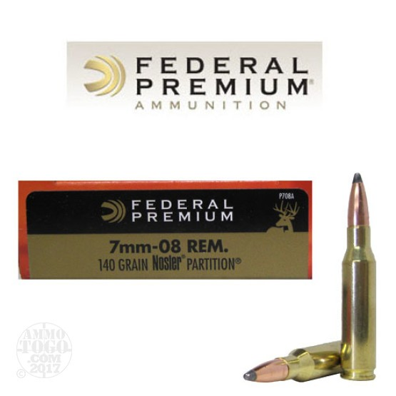 20rds - 7mm-08 Rem. Federal Vital-Shok 140gr. Nosler Partition Ammo