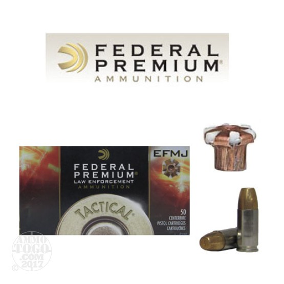 50rds - 9mm Federal LE Tactical EFMJ 124gr. +P Ammo