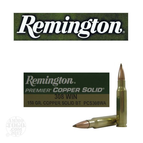 20rds - 308 Win Remington Premier 150gr. Copper Solid BT Polymer Tip Ammo