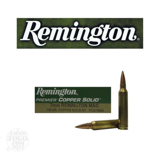 20rds - 7mm Rem Mag Remington Premier Copper Solid 140gr. Polymer Tip Ammo
