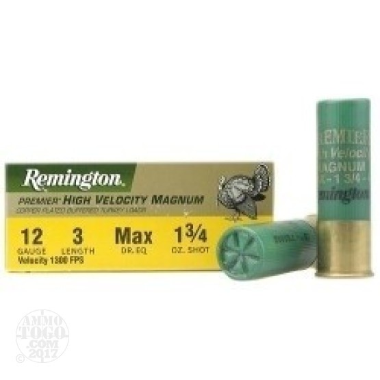 "100rds - 12 Gauge Remington Premier HV Magnum 3"" #6 Turkey Load"