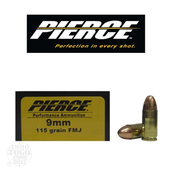 50rds - 9mm Pierce 115gr. FMJ Ammo