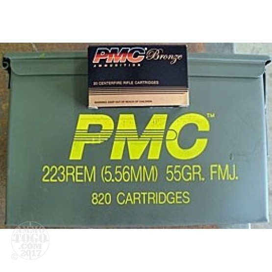 820rds - .223 PMC 55gr. FMJ in a Factory Ammo Can