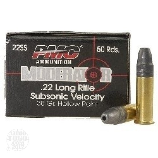 500rds - 22LR PMC Moderator Sub-Sonic 38gr. HP Ammo