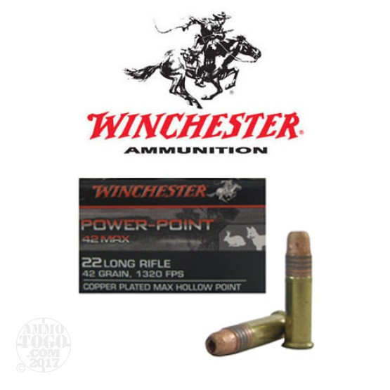 50rds - 22LR Winchester Power-Point 42 Max 42gr. CPHP Ammo