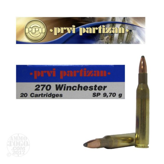20rds - 270 Win. Prvi Partizan 150gr. Soft Point Ammo